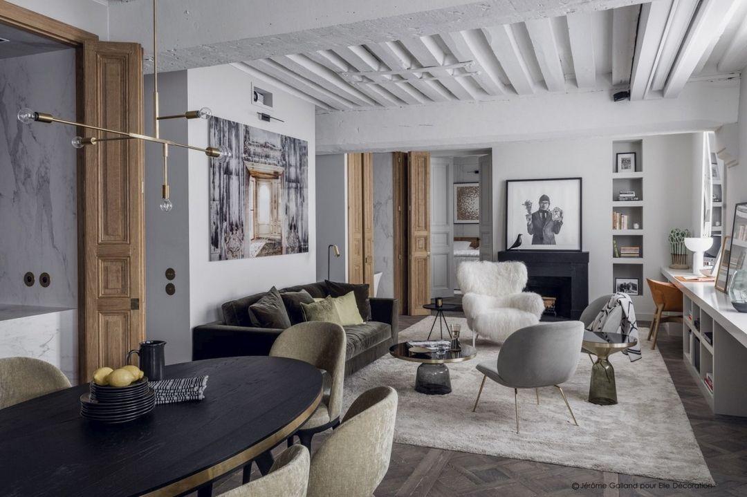 CUISINE OUVERTE ET FERMÉE Salons, Living rooms and Interiors