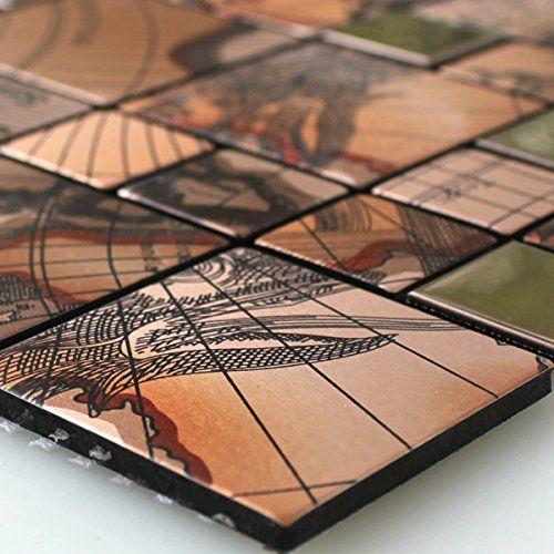Metall Effekt Wandfarbe Kupfer: Edelstahl Metall Mosaik Fliesen Columbus Kupfer Alu