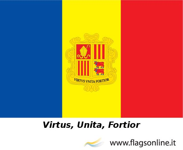 Andorra Flag With The Motto Strength United Is Stronger Http Www Flagsonline It Asp Flag Asp Flag Andorra Andorra Html Andorra Flag Flag Motto
