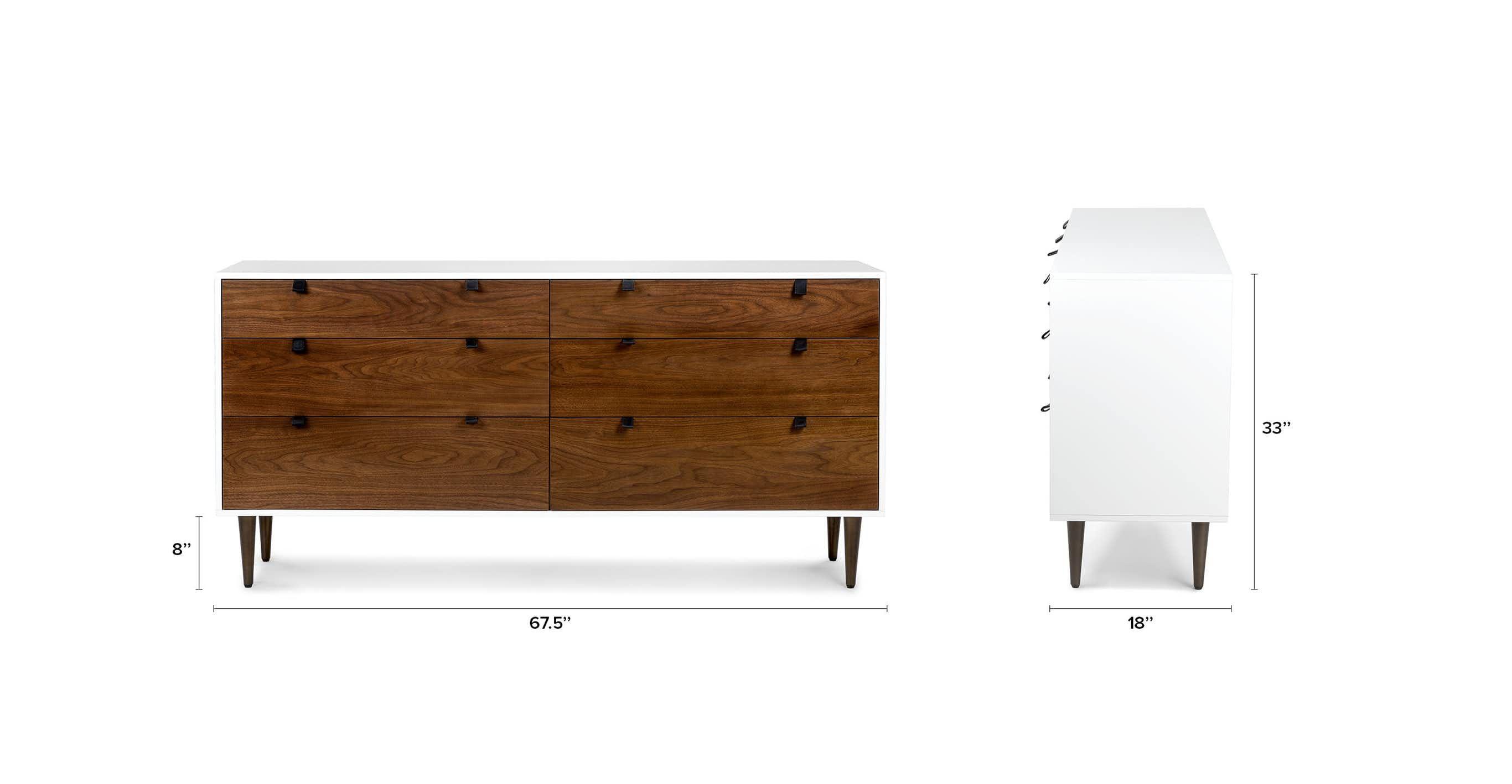 Envelo White Walnut 6 Drawer Double Dresser Modern Dresser Decor Double Dresser Dresser Decor [ 1418 x 2732 Pixel ]