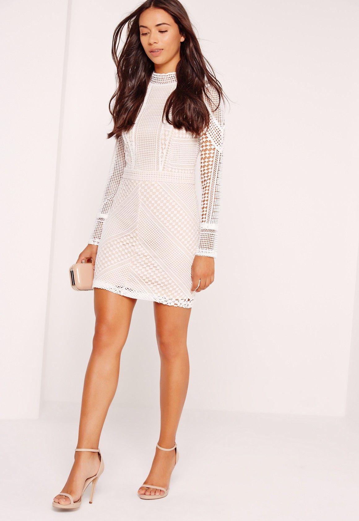 536fd14f1683 Missguided - Premium Structured High Neck Lace Mini Dress White ...