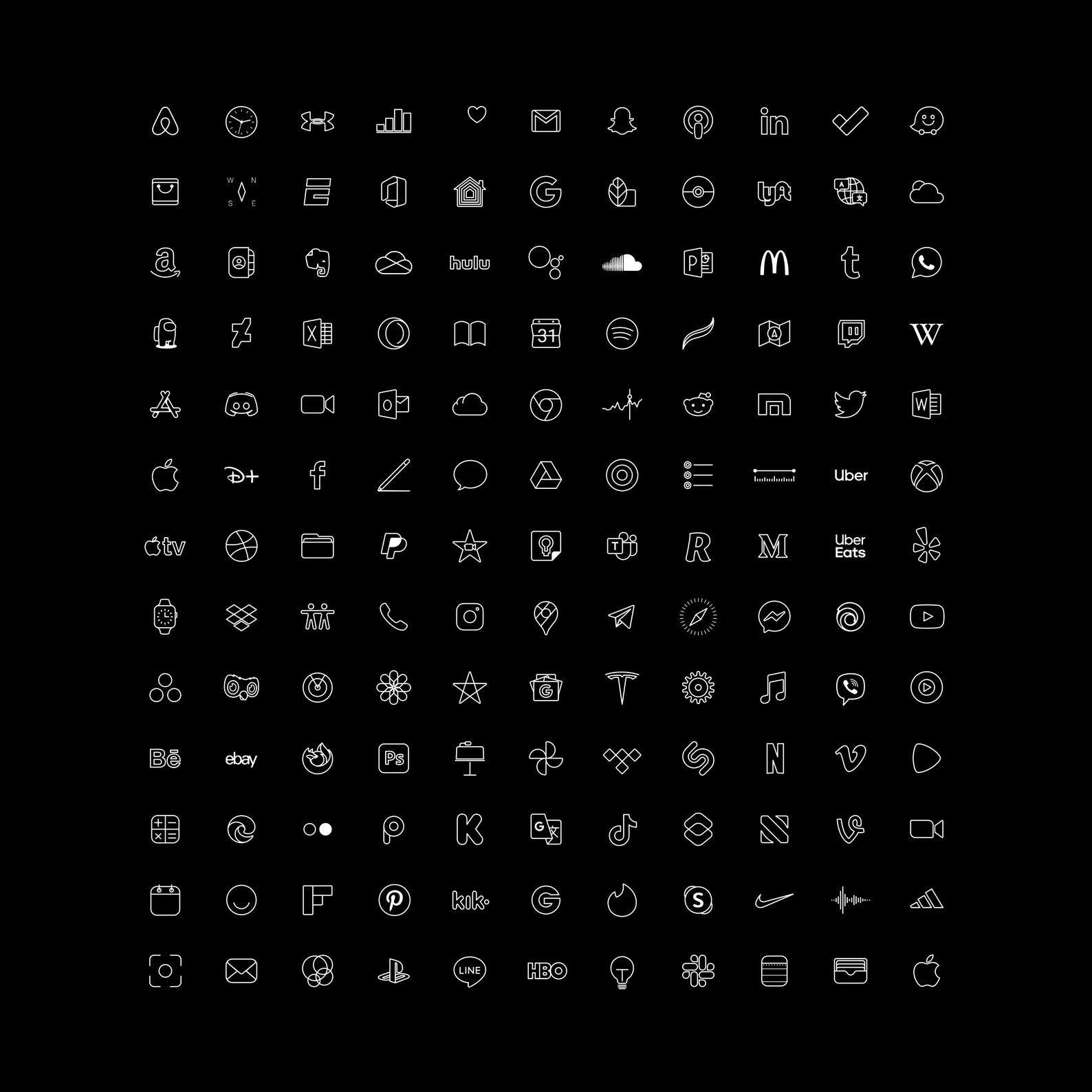140+ Professional iOS Dark Black and White icon se
