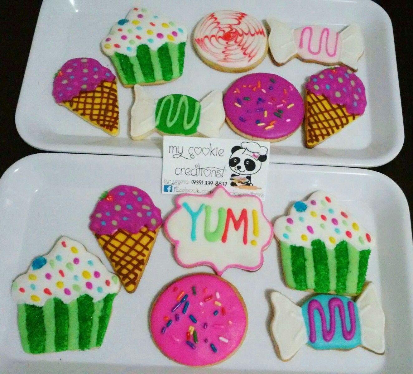 Postres!!! 😍❤😀🍪🎂🍬🍭🍦2 doz entregadas el domingo! #mycookiecreations #dessertscookies