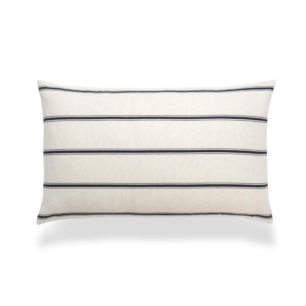 Neutral Lumbar Pillow Cover Stripes Black Beige 12 X20 Lumbar Pillow Cover Decorative Lumbar Pillows Stripe Throw Pillow