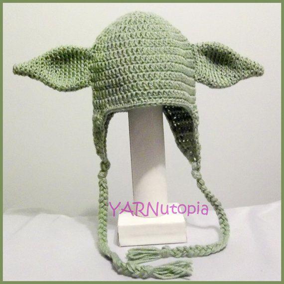 DIGITAL DOWNLOAD: Crochet PATTERN for Yoda Earflap Hat Size Infant ...