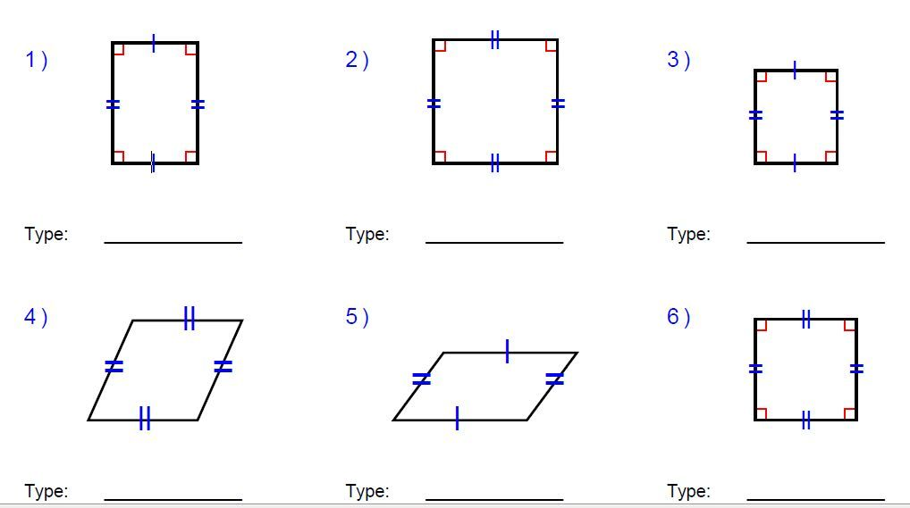 rhombus, rectangle, and square worksheets missing sides and ...