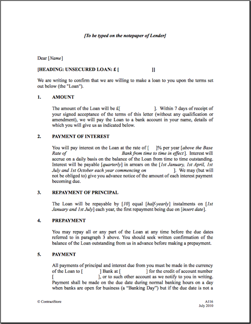 Loan Agreement Template – Sample of Loan Contract