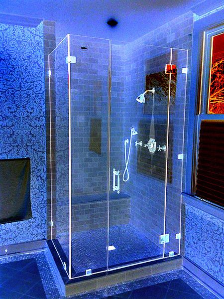 Frameless shower enclosure with x-ray lighting. | Shower ...