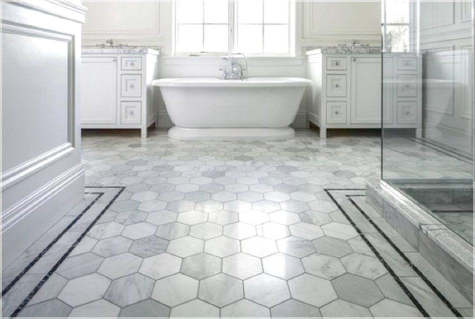 Flooring Ideas, Vinyl Bathroom Floor With Hexagon Tile ...