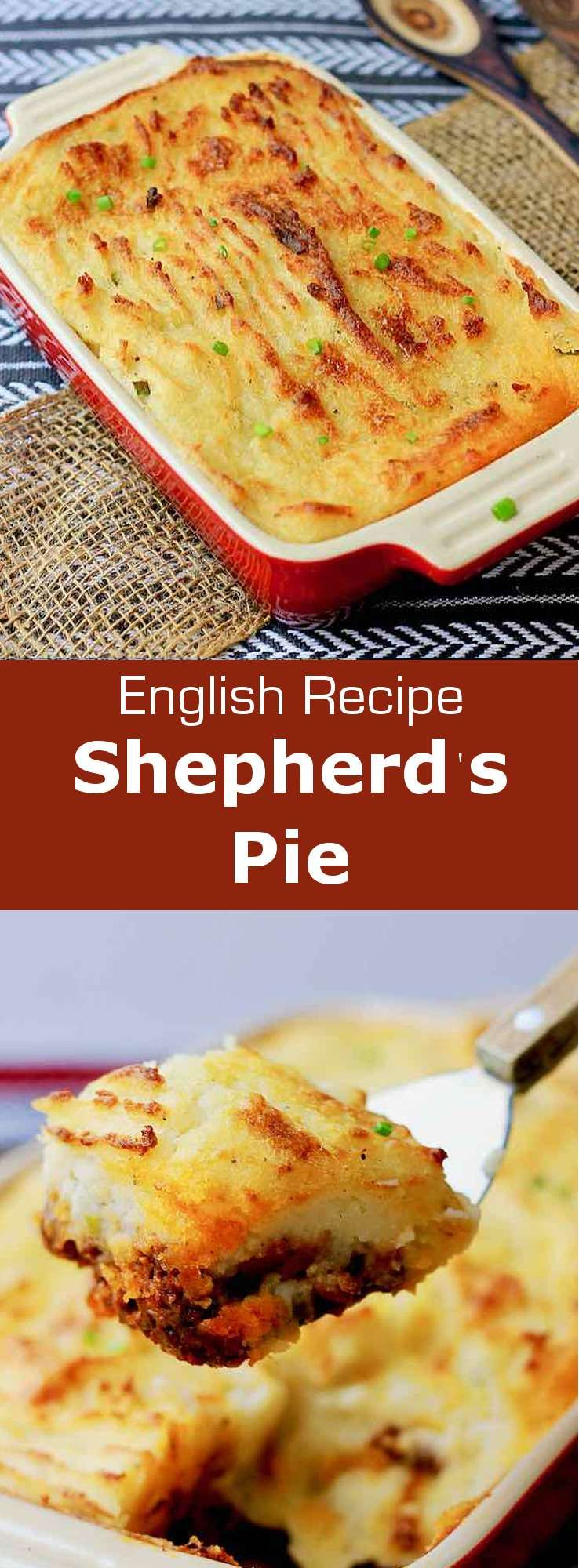 Shepherd's pie is a traditional British dish, made from lamb or mutton and mashed potatoes that is similar to French hachis parmentier. #UnitedKingdom #EnglishCuisine #BritishCuisine #EnglishFood #BritishFood #EnglishRecipe #BritishRecipe #WorldCuisine #196flavors #shepardspie