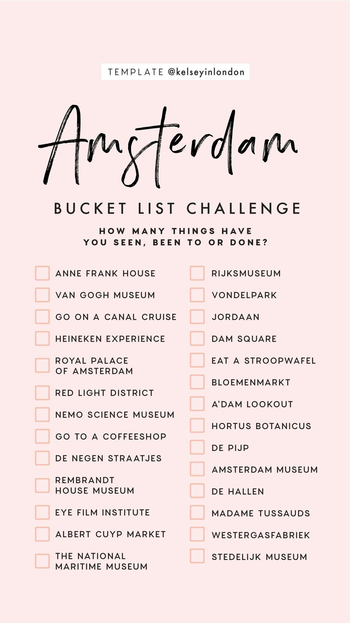 I Love This Amsterdam Bucket List Challenge Have You Been How