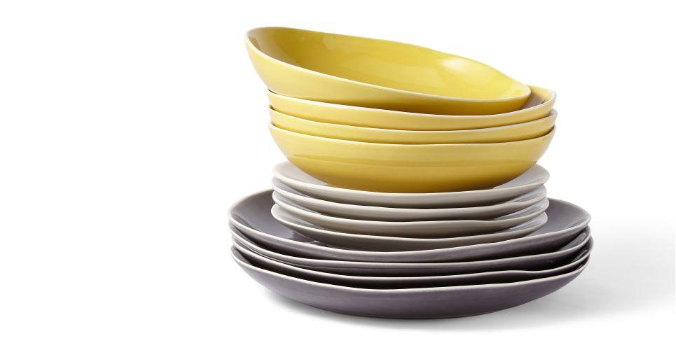 Noah 12-teiliges Geschirrset aus Steingut, Grautöne und warmes Gelb ...