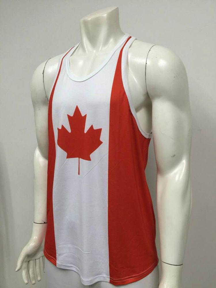 1c542dde6d443 Canada Mens Shirt Racerback Tank Top Canadian Patriotic Tee Workout Gym  Singlet