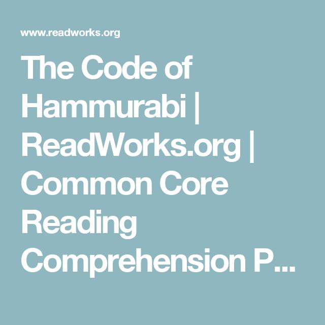 The Code of Hammurabi | ReadWorks org | Common Core Reading