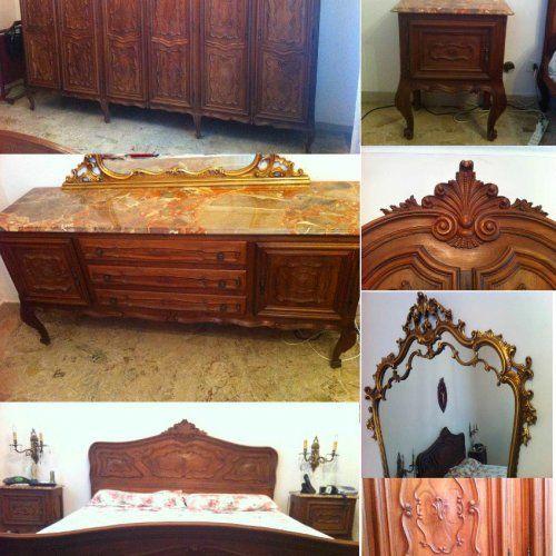 Camera da letto completa in legno, stile barocco piemontese ...