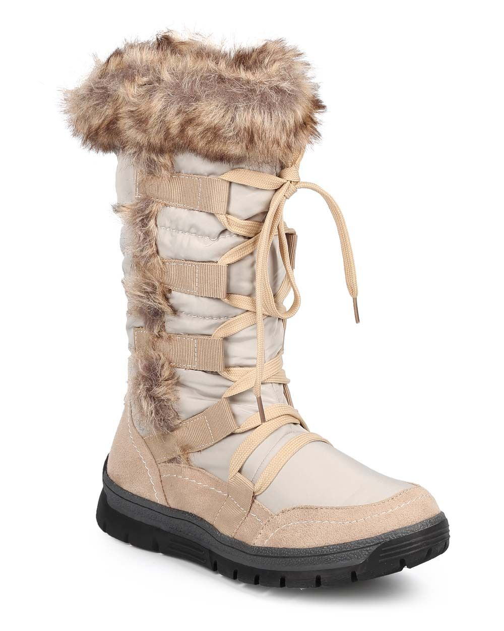 55a2836d763 New-Women-Liliana-Chaney-1-Mixed-Media-Fur-Cuff-Quilted-Lace-Up-Winter-Boot -Size