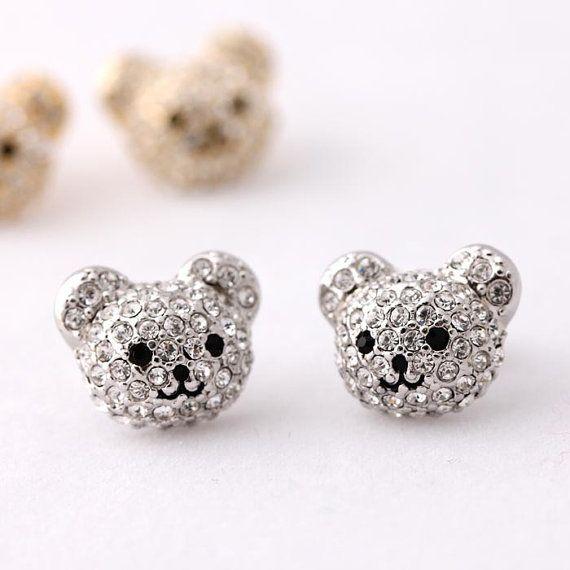 Bling Cutty Teddy Bear Earrings