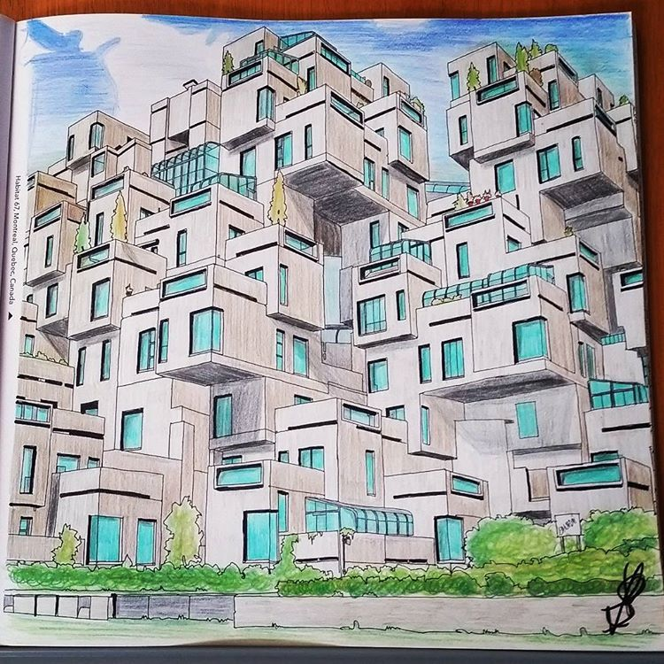 Habitat 67 Montreal Quebec Canada Fantasticcities Coloring BooksAdult