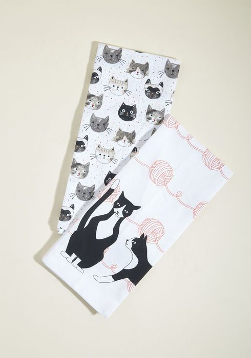 707172cb47457 Cat Buy Me Love Cotton Tea Towel Set | cat lady stuff | Tea towels ...