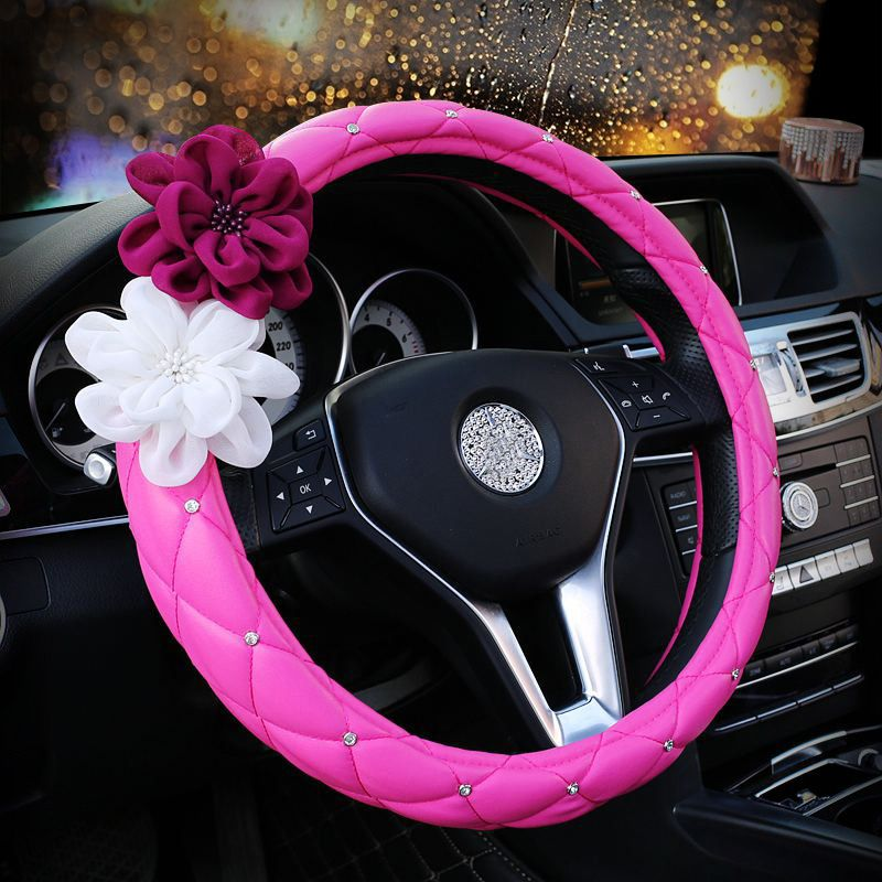 28.22 Color Camellia Diamond Car Steering Wheel Covers