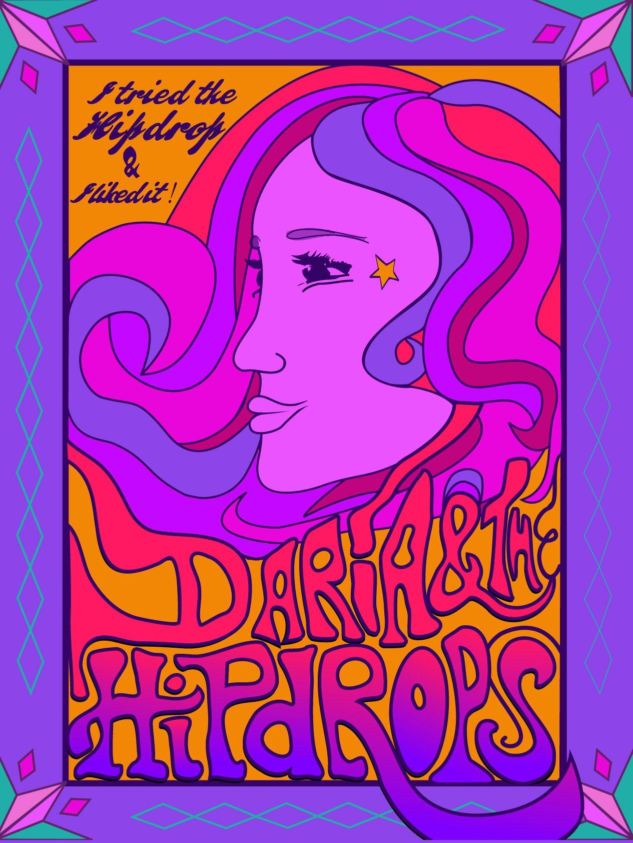 Daria & The Hip Drops sticker, retro funk | album art