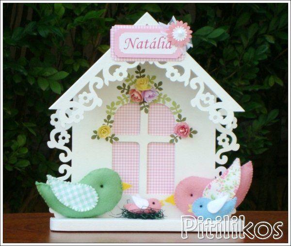 Enfeite de Maternidade - Casa de Passarinho - Família (menina)