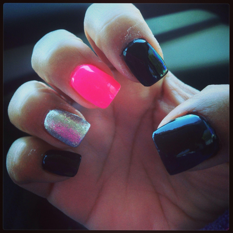 Pink and silver nails - Black Pink And Silver Nails