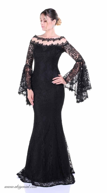3deea38f975c7 Siyah uzun abiye elbise, Volan kol #simlikumaş #krep #siyah #sade #kısa # abiye #sözelbisesi #black #dresses #eveningdress