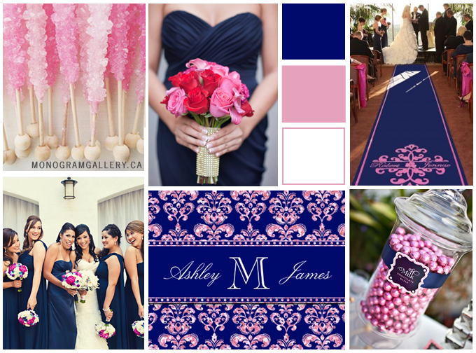 Navy Blue Damask And Pink Glitter Wedding Invitations By The Gallery
