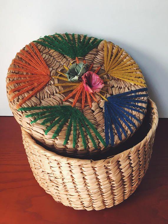 Colorful Woven Basket Mexican Basket Vintage Basket With Lid