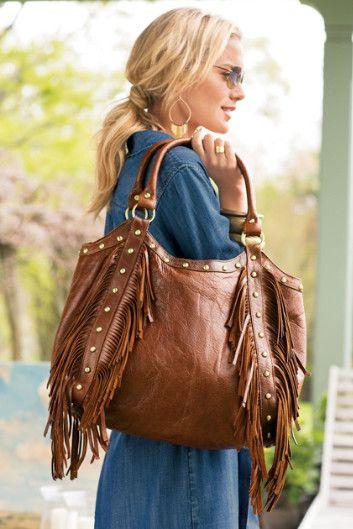 Fabulous Fringe Bag Womens Hobo Distressed Leather Purse Soft Surroundings