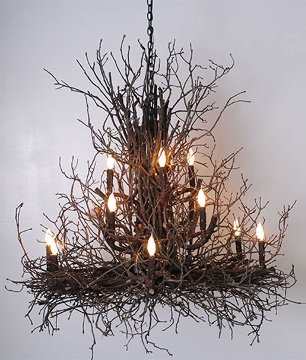 Beautiful Artfully Crafted Of Natural Hickory Branches U0026 Twigs, By Award Winning  Deanna Wish Designs, This Large Chandelier Will Be An Eye Catching Focal  Point For ...