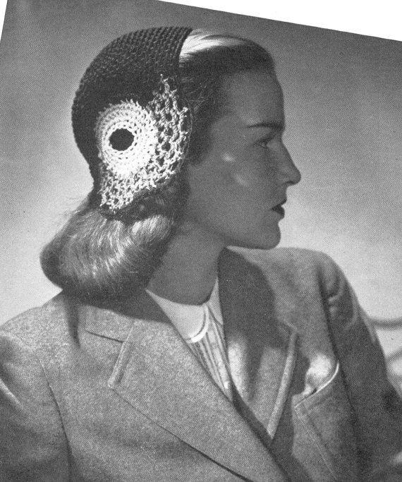 vintage crochet pattern ladies hat snood 1940s style half hat lace crochet cotton 1950s costume printable electronic pdf download