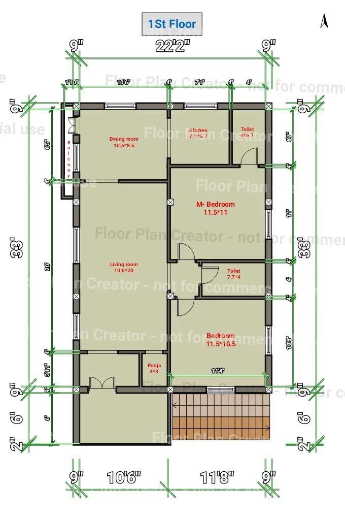 18x38 Floor Plan 1st Floor 27 42 House Plan Gmr In 2019