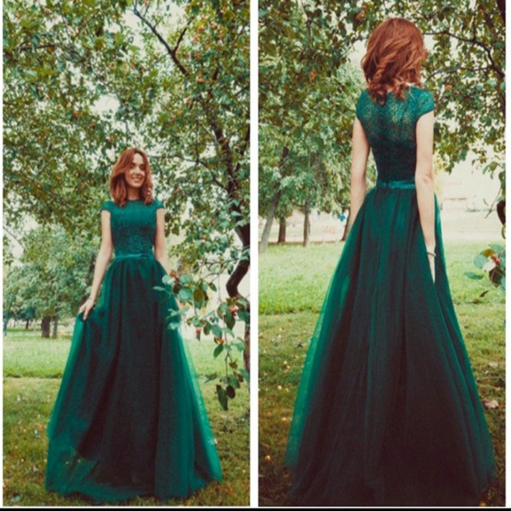 Short sleeve green aline lace vintage ball gown formal long prom