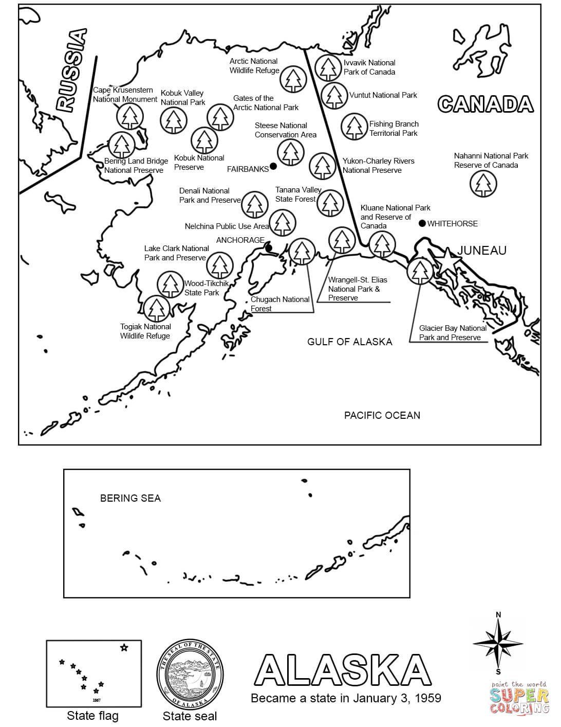 Coloring Map Of Usa Map Of Alaska Coloring Page In