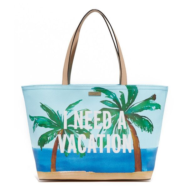 Kate Spade New York I Need a Vacation Francis Tote ($200) ❤ liked on Polyvore featuring bags, handbags, tote bags, tote purse, kate spade handbag, zippered tote bag, tote handbags and handbags totes