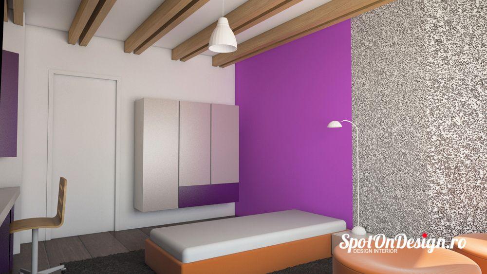 Tencuiala Decorativa De Interior.Si Acest Dormitor Are Barne Aparente Pe Tavan Si O Tencuiala