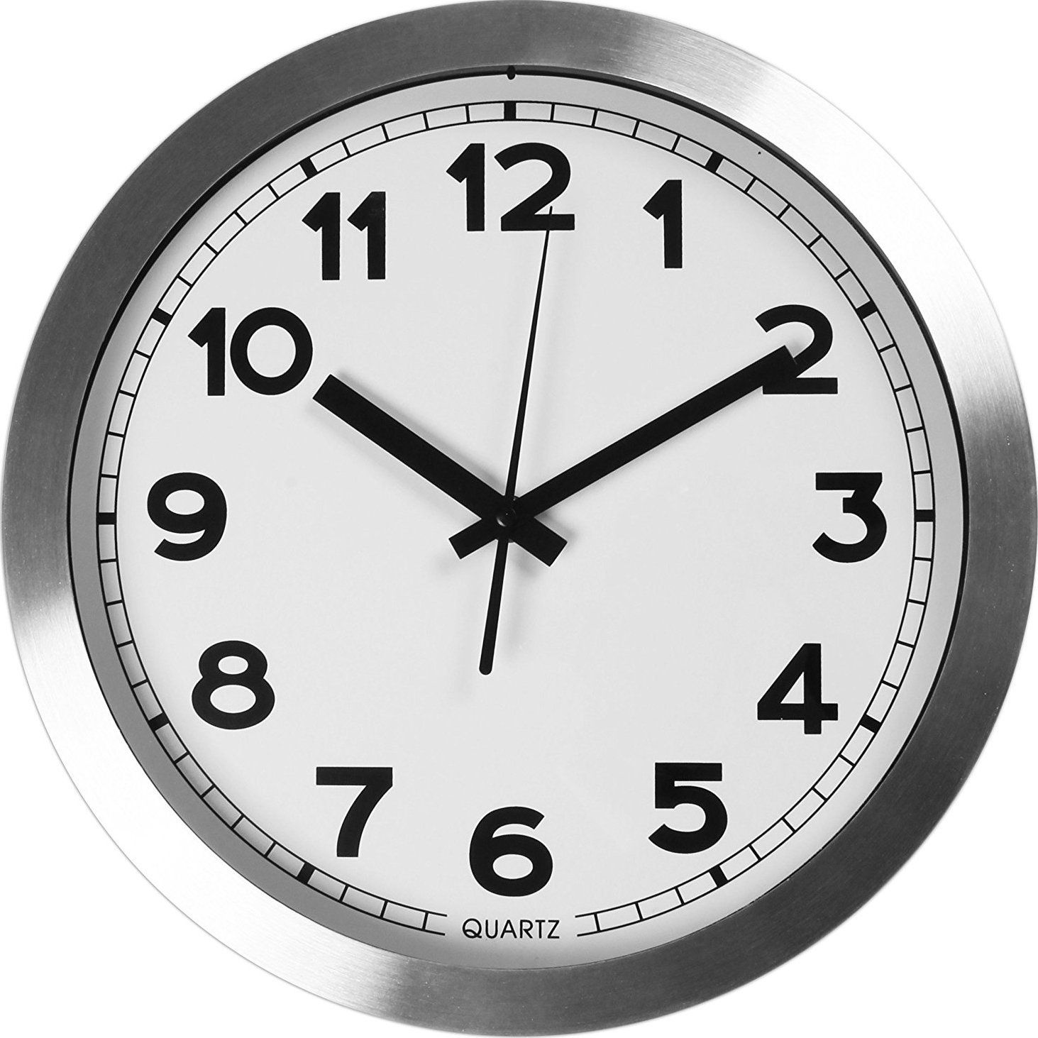 Large indooroutdoor decorative silver wall clock universal non large indooroutdoor decorative silver wall clock universal non ticking and silent 12 amipublicfo Images