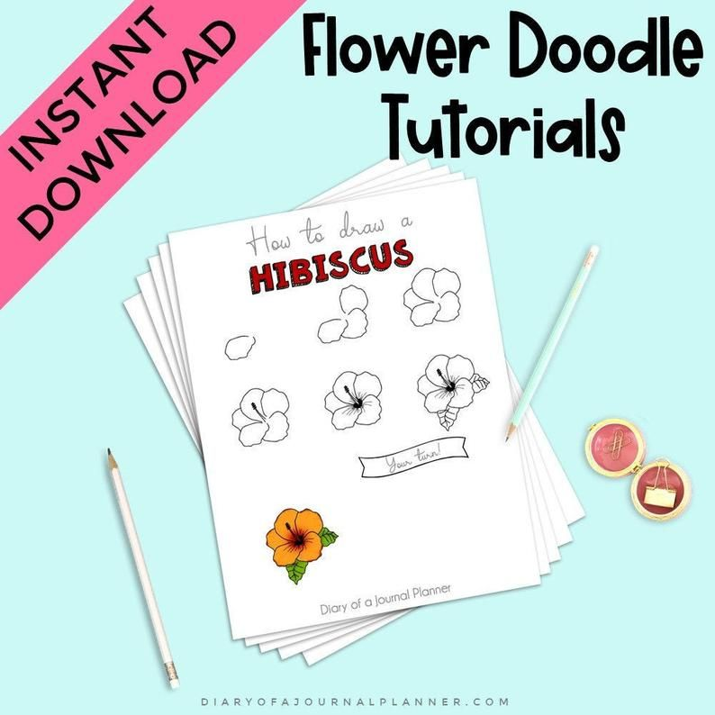 Flower Doodle Tutorials Floral Step By Step Doodles Learn How To Doodle Flowers And Plants How To Flower Doodles Plant Doodle Doodles