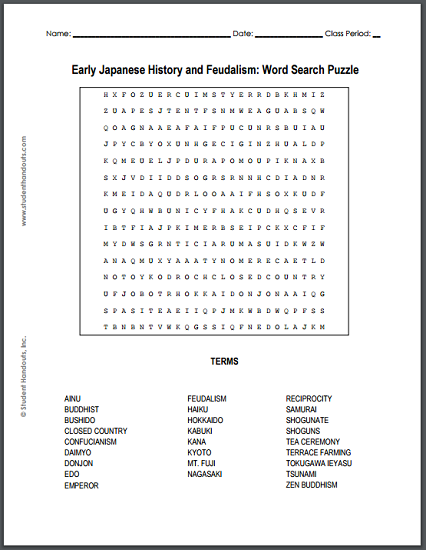 early japanese history and feudalism free printable word search puzzle pdf file social. Black Bedroom Furniture Sets. Home Design Ideas