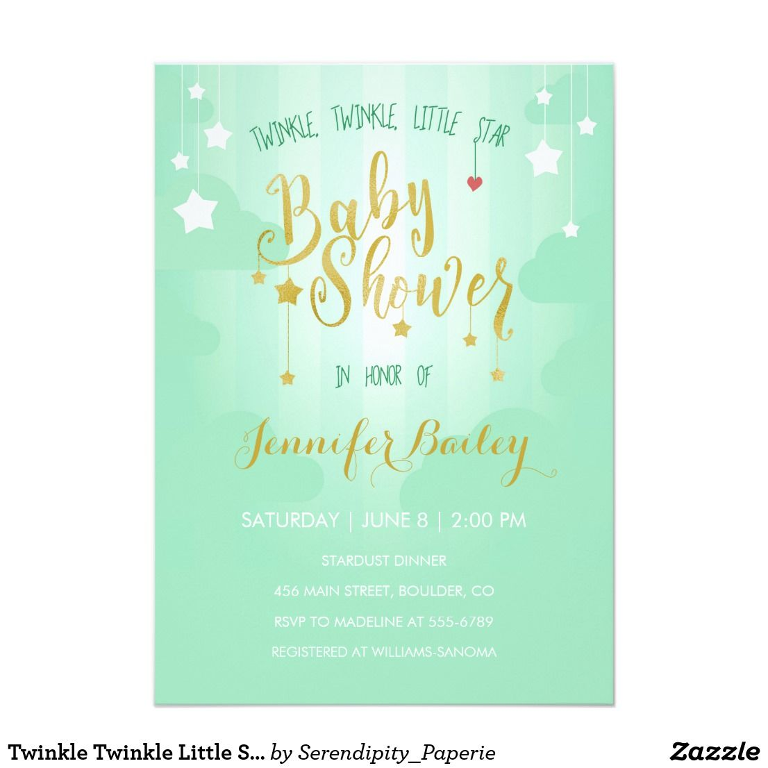 Twinkle Twinkle Little Star Baby Shower Invitation   Star baby ...