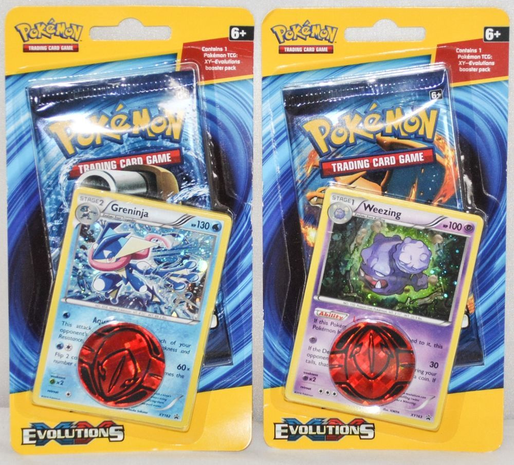 2 Pokémon XY Evolutions TCG Booster Pack with Greninja and