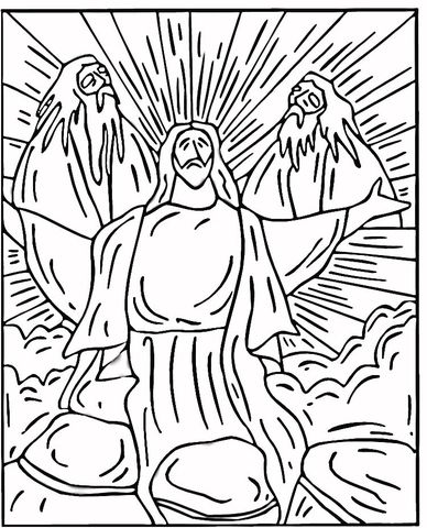 Transfiguration coloring page from Jesus Mission Period