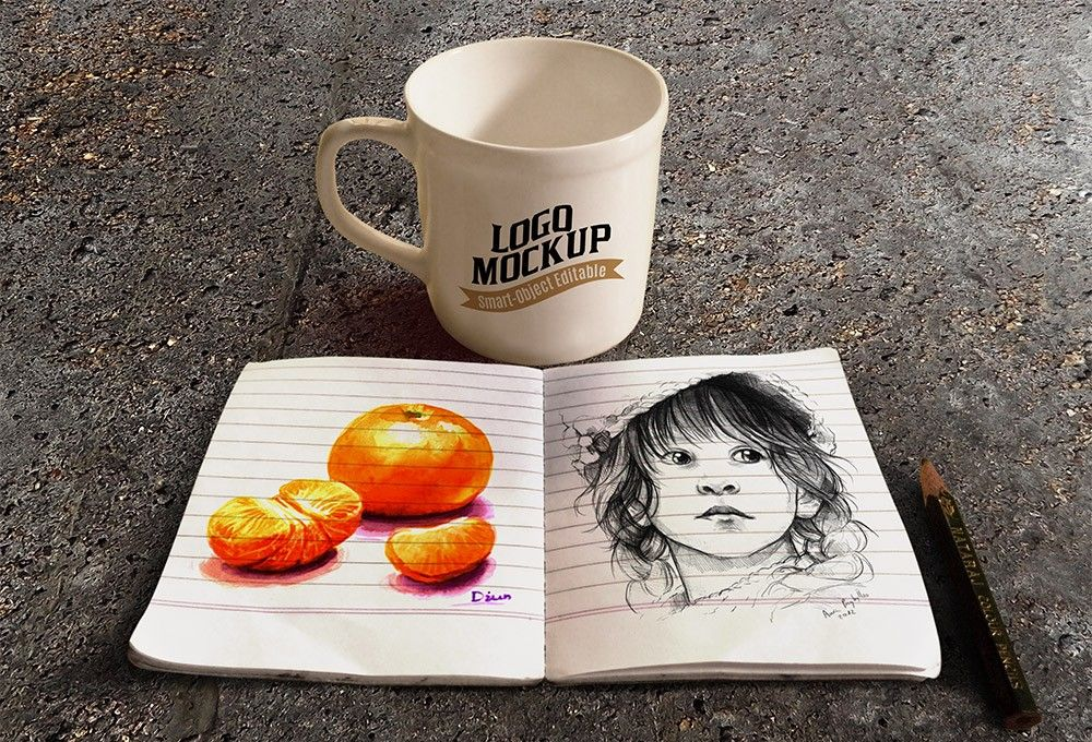 Coffee Cup and Sketchbook Mockup MockupWorld Psd