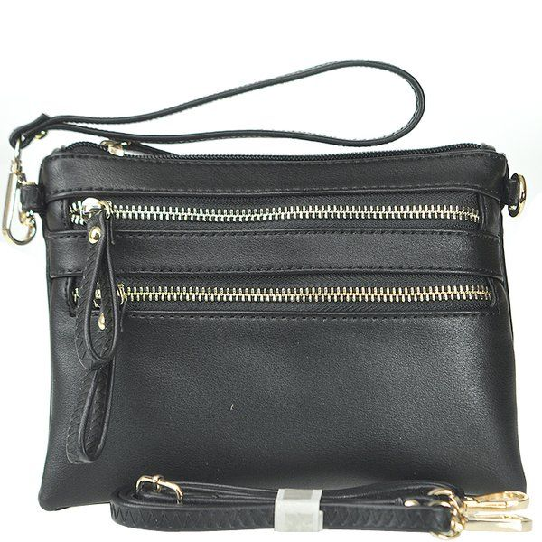 Petit Double Zippered Pocket with Wristlet and Strap Clutch Handbag ... e058f4a323cea