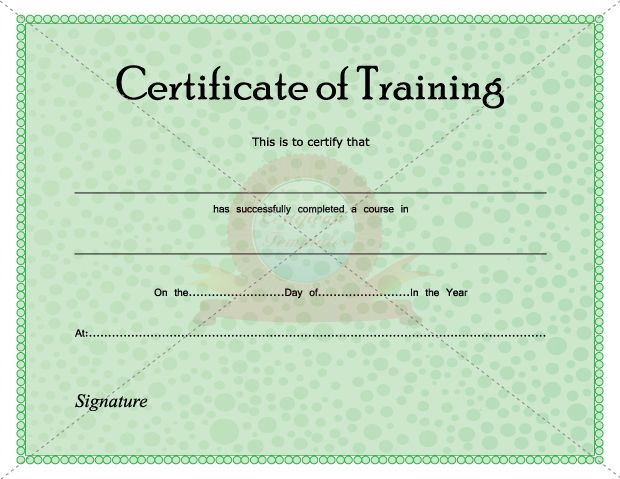 Certificate Of Training  Certificate Template