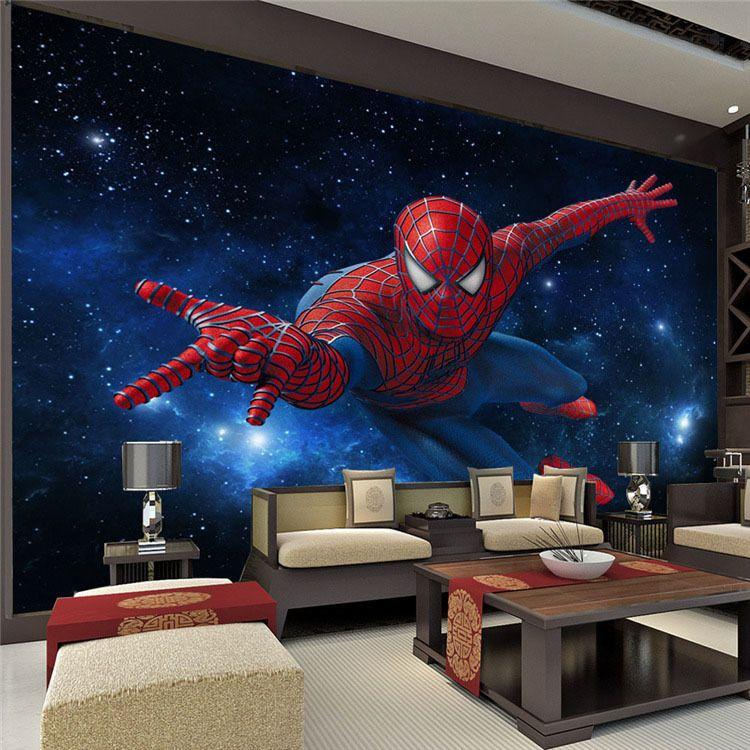 Custom Super Hero Wall Mural Spider Man Photo Wallpaper Silk Large Art Room Decor