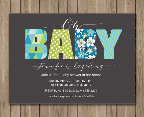 Grey and blue oh baby shower invitation digital printable grey and blue oh baby shower invitation digital printable invitation custom baby shower invitation filmwisefo