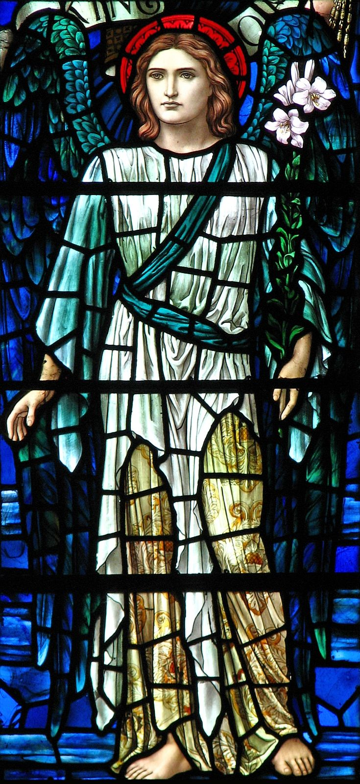 photograph of a stained glass window of Gabriel, Buckland, England; by Henry Holiday; from the flickr account of Brother Lawrence Lew, OP